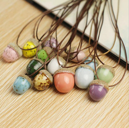 Wholesale Fresh Piece - High quality Necklace small fresh acorn short paragraph wild ceramic jewelry WFN492 (with chain) mix order 20 pieces a lot
