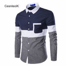 Wholesale Batik Mens Shirt - Wholesale- Full Sleeves Fashion Mens Oxford Casual Color Stitching European And American Style Man Clothes Shirts Refresh Leisure B091