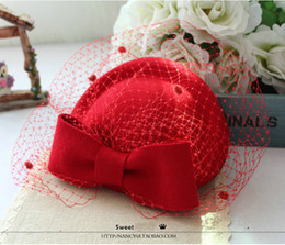 Wholesale White Bridal Top Hat - British retro hat Korean version of women's pure wool wool hat red winter red bridal headdress berets