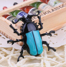 Wholesale Beetle Pin - Wholesale- New Arrival Fashion Trendy Blue Enamel Bug Beetle Insect Brooch Pin Costume Jewelry For Gift