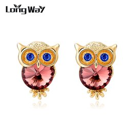 Wholesale Owl Back - LongWay Brand Jewelry Crystal Owl Stud Earrings For Women Vintage Gold Plated Animal Statement Earrings Brincos Ser150084