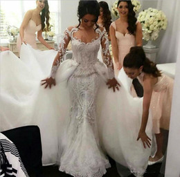 Wholesale Champagne Mermaid Lace Wedding Dresses - 2017 Full Lace Retro Wedding Dresses with Detachable Tulle Overskirt Jewel Neck Sheer Long Sleeves Pearls Embroidery Elegant Bridal Gowns