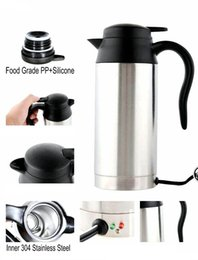 Wholesale Electric Heated Travel Coffee - Car Electric Heating Water Cup Boiling Cup Travel Heated Cup Hot Water Coffee Tea Mug 750 ML Stainless Steel Silver 12V   24V