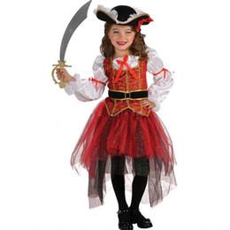 Wholesale Teenage Pirate Costume - 2017 new Halloween children's performance Children dance skirt girl party dress cosplay sea thief children's wear Wholesale free shipping