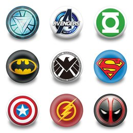 Wholesale Pins Clothing - Wholesale- 9pcs Superhero Avenger Symbol Cartoon Badges Buttons pins badges Round Brooch Badge,Clothes Bags Accessories Kids Best Gift
