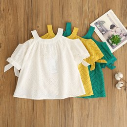 Wholesale Girls Tees Bows - Hot Baby Girls Off Shoulder Summer Lace Embroidery Hollow Out Tees Bow Tops Green Yellow and White Color Sweet Cotton Blouse