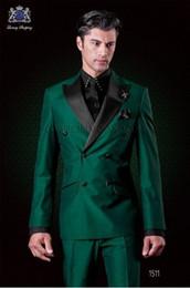 Wholesale Groom Green Tuxedo - Classic Design Double-Breasted Green Groom Tuxedos Groomsmen Peak Lapel Best Man Suit Wedding Men's Blazer Suits (Jacket+Pants+Tie) K426