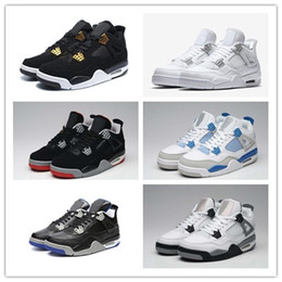 Wholesale Money Discount - 2017 Discount Retro 4 Pure Money Basketball Shoes Men Women 4s Game Royalty White Cement Bred Military Blue Sports Sneakers With Box