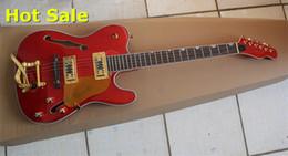 2019 guitare électrique semi-creuse jazz Usine Custom Firehawk F Trou TL Standard Semi Creux Tremolo Rouge Jazz Guitare Électrique Or Matériel guitare électrique semi-creuse jazz pas cher