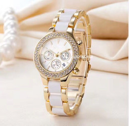 Wholesale ceramic clocks - 2018 Luxury Brand Fashion Designer ladies gold watch white Dress full diamond watches women ceramic bracelet stainless steel calendar clock
