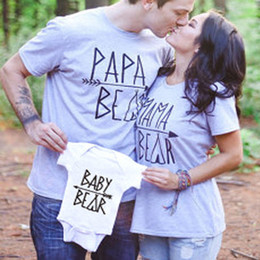 Wholesale Family Mothers - INS Family Outfit T-Shirt Papa Mama Baby Bear Printed Tees Tops Family Matching Clothes Mother Father Baby T-shirt 2017 Summer