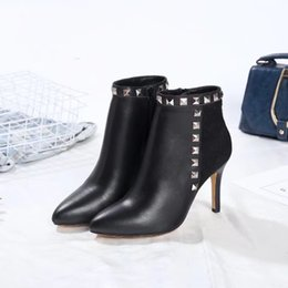Wholesale Fashion Show Fall - Rivet Boots Sexy Pointed toe Slip on Stiletto heels Womens T Show Wedding Party Booties Real leather