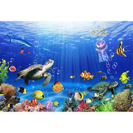 Wholesale Cartoon Backdrops - Children Kids Cartoon Photography Backdrops Colorful Fishes Turtles Scenery Under the Sea Background Studio Photo Booth Vinyl Wallpaper