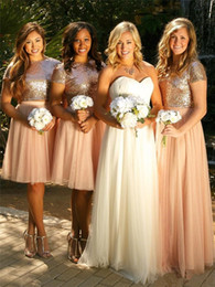 Wholesale Pretty Shirts - High Quality A Line Short Bridesmaid Dresses 2017 Sparkly Sequined Jewel Knee Length Pretty Wedding Guest Formal Dresses With Two Pieces