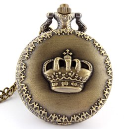 Wholesale Dress Imperial - Wholesale- Hot Fashion Imperial Crown Pattern of King&Queen Retro Necklace Pocket watch vintage Men's Women's Gift