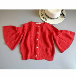 Wholesale Sweet Machines - Everweekend Girls New Fashion Batwing Sleeve Knitted Sweater Cardigans Red Color Sweet Children Fashion Autumn Jackets Outwears