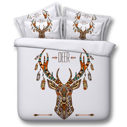 Wholesale Duvets For Children - Deer Elk Cosmos Night Pattern 3D Printed Queen Size Bedding Quilt Duvet Cover Set Multicolor Available for Shipment Exclusively within the