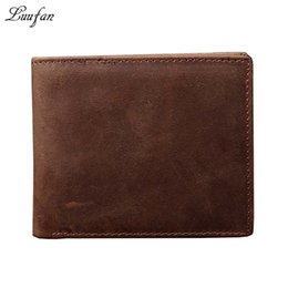 Wholesale short posts - Wholesale- Men's Crazy horse leather short wallet with coin pocket and Real leather short purse Simple style short wallet fast post