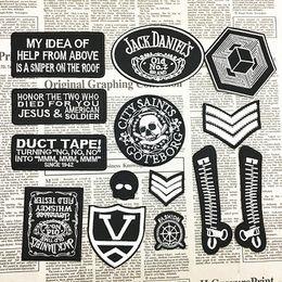 Wholesale Diy Cloth Fabric - Fashion black cloth iron on patches cap coat fabric logo Applique badge accessori DIY applique biker vest embroidered wholesale