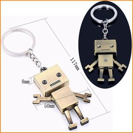 Wholesale 3d Rings - Hot Sale - Metal 3D Robot Key Chain Movable Keychain Key Ring Key Holder Bag Car Pendant
