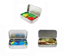 Wholesale tin cases wholesale - 4 in 1 Tin Silicone Storage Kit Set with 2pcs 5ml Silicon Wax Container Oil Jar Base Silver Dab Dabber Tool Metal Case