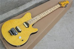 Wholesale Maple Neck Yellow - Hot Sale Factory Customzied Yellow ELecteic Guitar with Flame Maple Veneer and Maple neck,Floyd Rose,Can be Changed as your requests