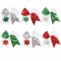 Wholesale Glitter Sequin Hair Bows - 7 inch Large Christmas Cheer Bows Handmade Shining Glitter Snowflake Sequin Hair Bows with Ponytail Hair Holders For Cheerleading Girls