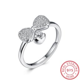 Wholesale Bow Ties Rings - Adjustable Bow Tie Ring 925 Sterling Silver Natural Crystal White Cubic Zirconia Wedding Engagement Women Ring SVR051