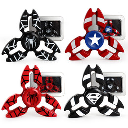 Wholesale Iron Man Plastic - Metal Avengers Fidget Spinner Super Hero Tri-Spiner Capt. America Spiderman Bat Iron Man Zinc Alloy EDS Metal Spinners Toy