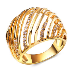 Wholesale Trendy Products - High quality product at an excellent price ring with AAA Cubic Zirconia Gold color hollow design Trendy New rings