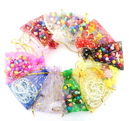 Wholesale Star Organza Gift Bags - 100pcs lot organza bags moon and star drawstring pouches Gift Bags&Pouches 7x9cm jewellery bag