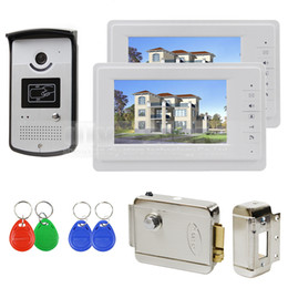 "Wholesale Door Video Electric Lock - 7"" Wired Video Door Phone Video Intercom System 1V2 Electric Lock Access Control RFID Keyfobs Unlock"
