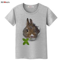 Wholesale T Shirt Lovely - Wholesale- BGtomato Rabbit eating grass lovely t shirt women Creative fashion 3D shirt Brand Good quality comfortable new shirt