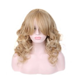 Wholesale Sexy Long Wigs - WoodFestival Sexy Long wavy Blonde wig Womens Fashion curly synthetic hair wigs with bangs ladies heat resistant fiber wig