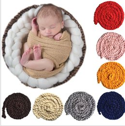 Wholesale Handmade Baby Wholesale - Newborn Wool Twist Rope Photo Props Backdrop Background Baby Photography Prop blanket Handmade Crochet Knitted Costume blanket KKA3190