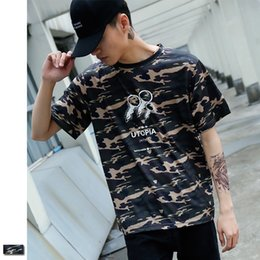 Wholesale Concert Tees - Camouflage T-shirt UTOPIA Peace Jellyfish Print Military T shirt Brand Clothing Hip Hop Army Camo Tshirt Men Tee Music Concert