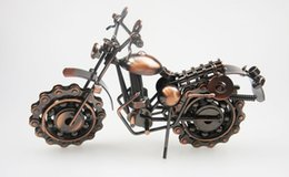 Wholesale motorcycle ornaments - 2017 Creative Hand Soldering Wrought Iron Motorcycle Model Tone Metal Moto Collection Simple Modern Unique Ornaments