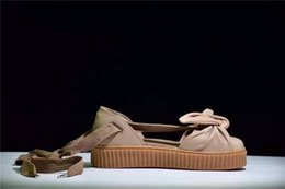 Wholesale Discount Fashion Sandals - Discount Women Fenty X Bow Creeper Sandals Rihanna Creepers Sandal Lace Up Sandal Sneakers Beige Silver Natural Summer Strap Sandals