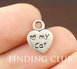 Wholesale metal charms pendants cat - 500pcs lot Antique Silver Plated Zinc Alloy heart love my cat Charms Pendants Metal for Jewelry Findings DIY 9x12 mm