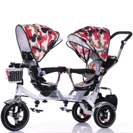 колесные коляски Скидка Wholesale- Double Stroller Child Bike Stroller Double Seats Baby Tricycle for Twins Bike Folding Three Wheels Twins Tricycle Pushchairs