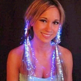 Fibra óptica intermitente partido on-line-Brilho Clipe de Cabelo Piscar Flash LED Trança Mostrar Decoração Do Partido Colorido Trança Luminosa Fio De Fibra Óptica Gancho de Cabelo
