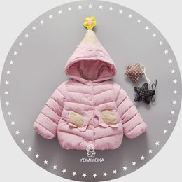 Wholesale Knitted Coat For Baby Girl - Baby Girl Coat New Winter Autumn Girls Warm Knit Outwear Down Jackets Tops With Flower Caps Hooded Coat For 0-3Y Girls A7482