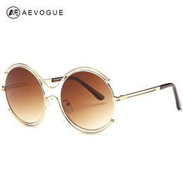 Gafas de sol de forma redonda al por mayor online-Al por mayor-AEVOGUE aleación de Ronda 8-Shaped gafas de sol del marco del estilo de diseño de la marca de fábrica de las mujeres del verano gafas de sol Feminino UV400 AE0282