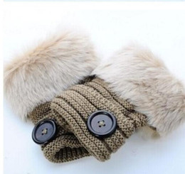 Wholesale Floral Party Favors - Button gloves Women Girl Knitted Faux Rabbit Fur Fingerless gloves Winter Warmer outdoor Mittens colorful Fashion Accessories party favors
