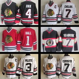 Wholesale Pierre Pilote - Throwback Stitched Chicago Blackhawks Hockey jerseys 1 Glenn Hall 3 Pierre Pilote #4 Bobby Orr Brent Seabrook 7 Chris Chelios Phil Esposito
