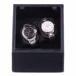Wholesale Watch Case Automatic Winder - Wholesale- 2016 New Double Automatic Winder Watch Box Black High Quality Luxury Men Wristwatch Winding Case EU Plug AC Adaptor
