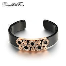 Wholesale Color Metal Bangle - DFB017 Black Acrylic Opening Charm Bracelets & Bangles Rose Gold Color Metal Nesting Fashion Cubic Zirconia Jewelry For Women