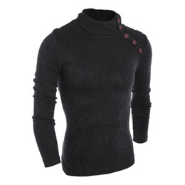 Wholesale High Bb - Wholesale- 2016 New Brand Men Slim Sweaters Men Thin Pocket Decorative Buttons Hedging High-necked Casual Sweater Pullover Male XXL BB