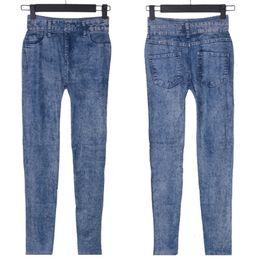 vêtements de gros à la mode Promotion Gros-Trendy Lady Girl bleu Faux Jean Skinny Jeggings extensible mince pantalons étoiles Plus la taille pour les femmes Jeans vêtements