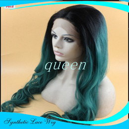 Wholesale Long Wavy Silver Hair - Cheap Long wigs for women Synthetic Lace Front Wig green blue Silver Ombre Hand Tied Wavy Wigs Dark Roots Heat Resistant Fiber Hair